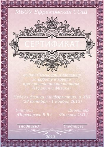 Сертификат участника недели физики и информатики и ИКТ. Смыкова Анастасия.